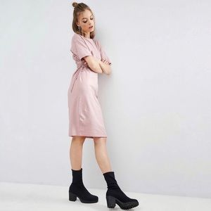 nwt asos midi t-shirt dress with lace up detail